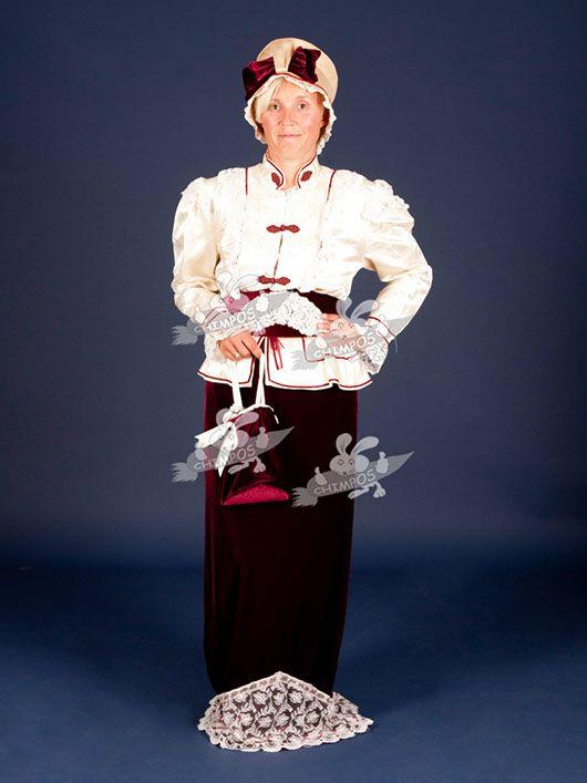 Belle Epoque mujer_traje granate