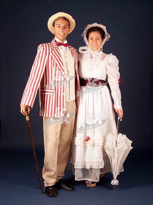 Belle Epoque pareja_chaqueta a rayas y vestido blanco