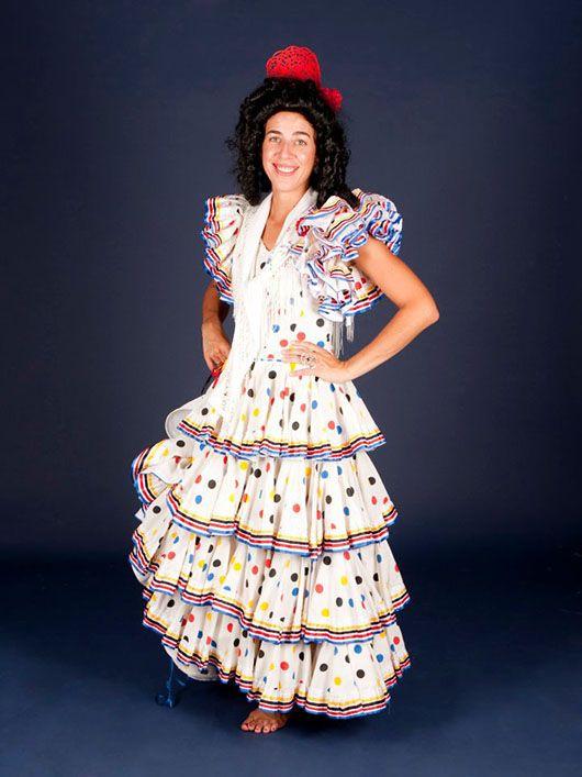 Flamenca_traje blanco con lunares multicolor