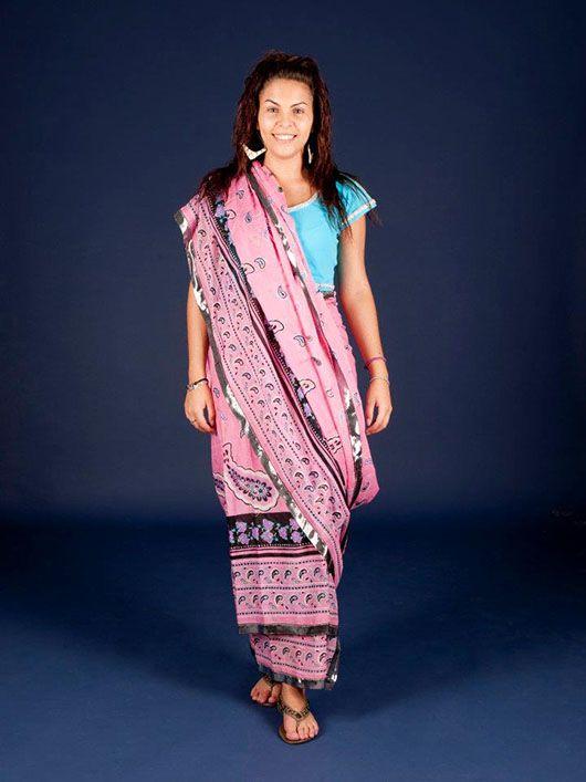 Mujer hindú_sari verde